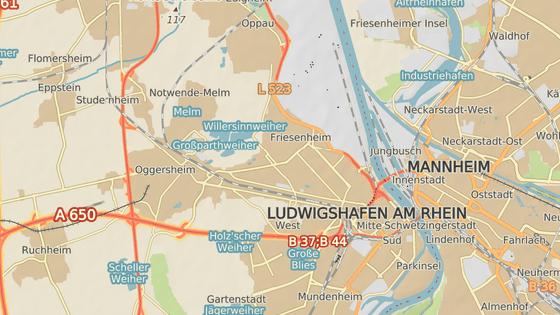 Přibližné místo výbuchu v Ludwigshafenu