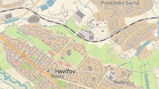 Železniční trať u areálu Nemocnice Havířov