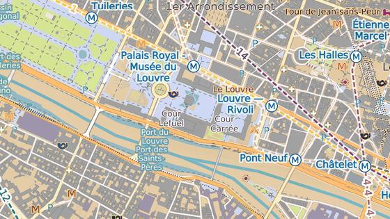 Muzeum Louvre se nachází v centru Paříže na břehu řeky Seiny