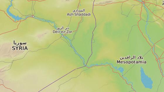 Chajm, Irák (červená značka) a Majádín, Sýrie (modrá značka)