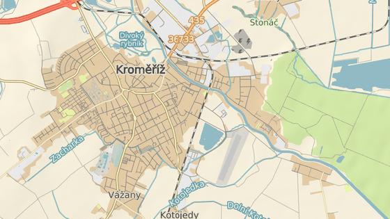Lokalita Račín se nachází na okraji Kroměříž.