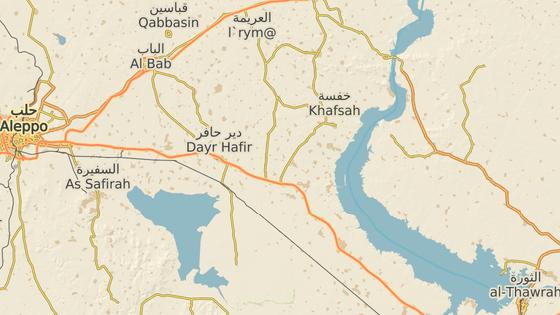 Hrad Džabar (červená značka) a al-Báb (modrá značka)