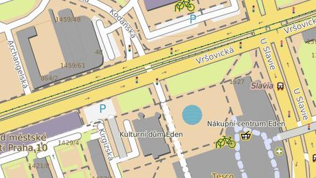 Křižovatka ulic Vršovická a Kodaňská na Praze 10, kde došlo k dopravní nehodě.