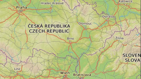 Místo, kde byl vlk nalezen na dálnici D1 a pravděpodobná oblast odkud do Čech přišel