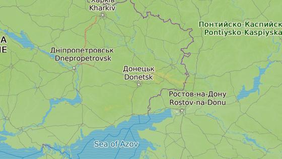 Luhanská (červeně) a Doněcká lidová republika (modře) se nachází na východě Ukrajiny