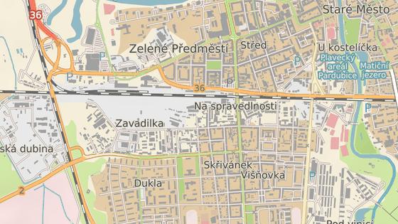 Ulice Gorkého, kde se nachází sídlo pardubické organizace komunistů.