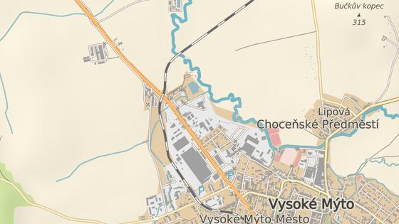 Červená značka označuje uzavřený přejezd na silnici I/35. Zelená pak objízdnou trasu ve směru od Hradce Králové na Litomyšl.