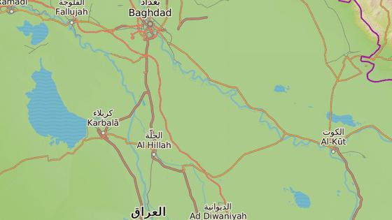 Autobusy s věřícími se vracely z města Karbalá (modrá značka). Útok se odehrál ve městě Hilla, které leží zhruba 90 kilometrů jižně od Bagdádu.