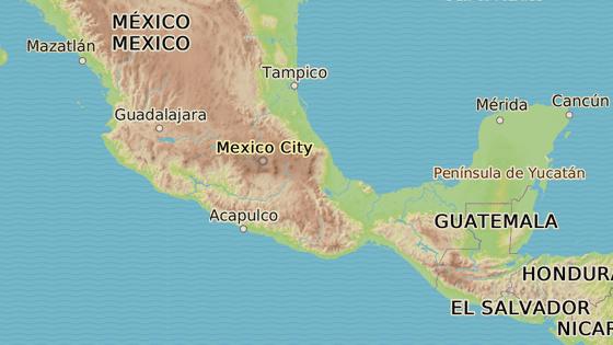 Stát Puebla (červená značka) a Veracruz (modrá značka), které nejvíce zasáhly sesuvy půdy