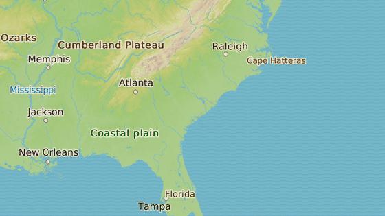 Jacksonville, kde byla dívka unesená (červená značka) a Walterboro, kde vyrůstala (modrá značka)