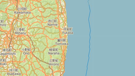 červená značka: epicentrum zemětřesení, černá značka: jaderná elektrárna Fukušima