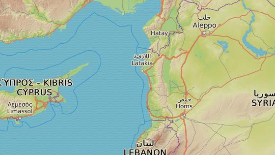 Latakíja (červeně) a Tartús (modře)