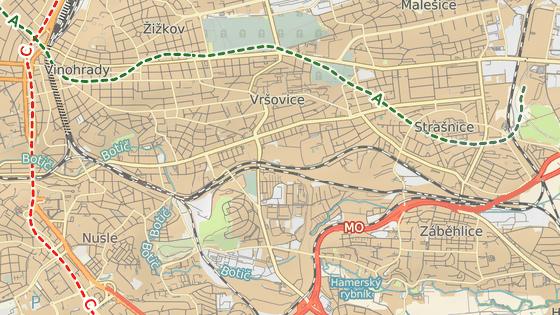 Ulice Sevastopolská ve Vršovicích (červený bod) a ulice Malinová a Jahodová v Záběhlicích (modrý bod).