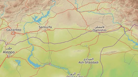 Sanlifura, Turecko (červená značka), Kámišlí (modrá) a Tabká (zelená)