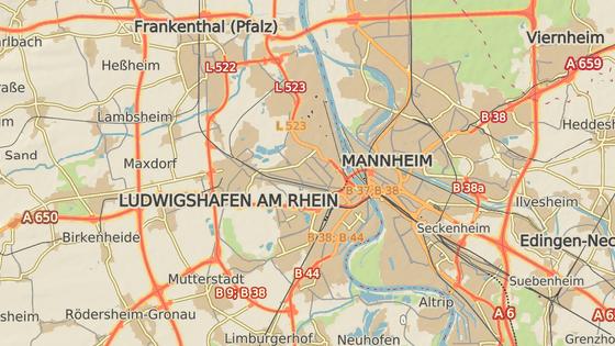 P�ibli�n� m�sto v�buchu v Ludwigshafenu