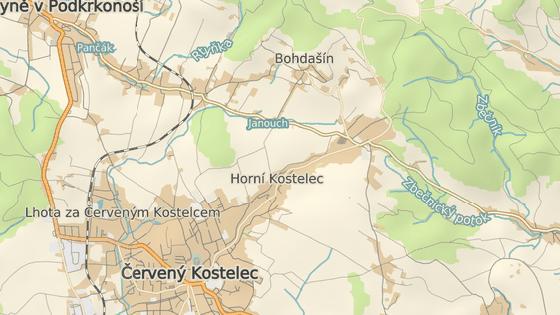 Výsadkáře skrývali v osadách Bohdašín (červená) a Končiny (oranžová).