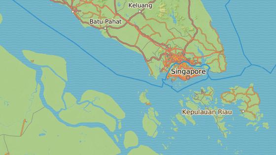 Malajsijský přístav Tanjung Pelepas , ze kterého tanker v pondělí vyplul. Modrá značka značí indonéský ostrov Batam, u jehož břehů se plavidlo pravděpodobně nyní nachází.