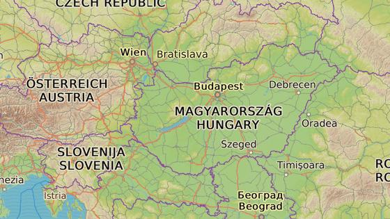 Hraniční přechody Batina-Bezdan (červená značka) a Nickelsdorf-Hegyeshalom (modrá značka)