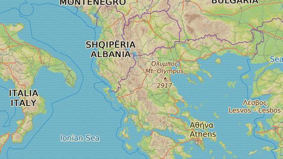 Oranžová značka vpravo označuje Olymp, azurová vlevo Smolikas.
