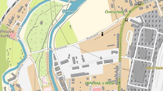 Firma Stavos svůj čtyřetapový projekt umístí do prostoru mezi ulicemi Olší, Parková a Obřanská (modrá značka). Firma Kaláb plánuje stavět mezi ulicemi Parková a Kusákova (oranžová).