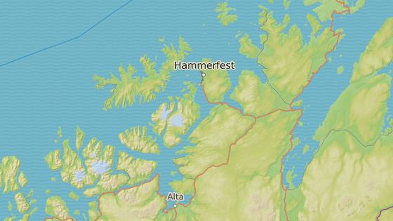 Hammersfest (červená značka) a Alta (modrá značka)