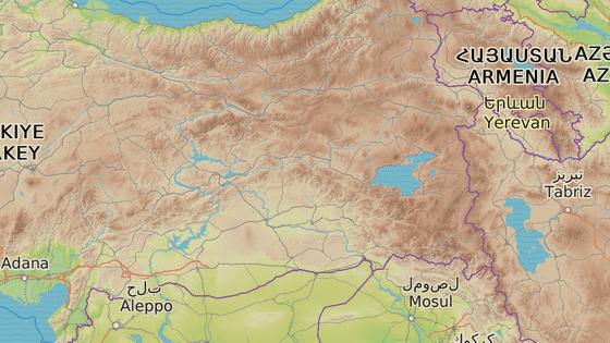 Elazig (červená značka) provincie Van (modrá značka) a okres Hizan (zelená značka)