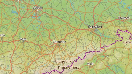 Vzdálenost jezera Cospudener See (označené šipkou) od české hranice.