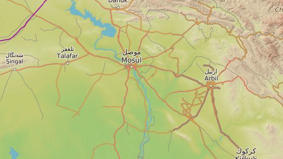 Město Kajára se nachází jižně od Mosulu