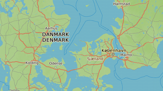 Roskilde (červeně), Aarhus (modře),  Slagelse (zeleně) a Kodaň (žlutě)