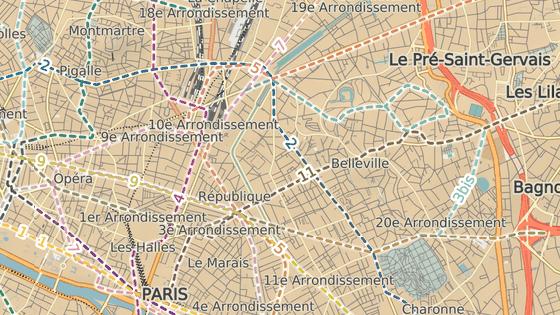 Uprchlíci stanovali mezi ulicemi le quai de Jemmapes (dole) a l'avenue de Flandres (nahoře).