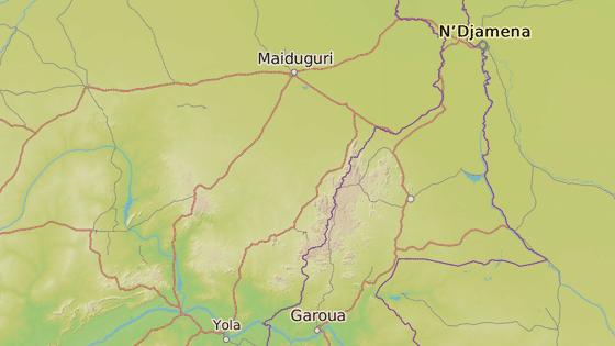 Vesnice Chibok (červená značka) a Daggu (modrá značka)
