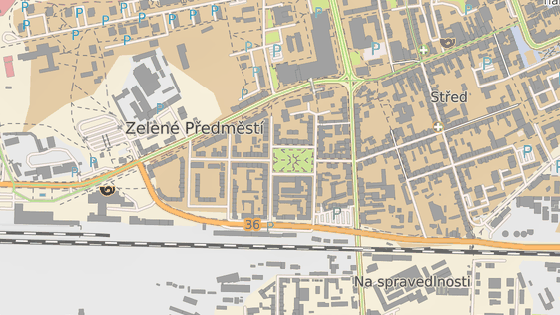 Kruhový objezd (modře) na křižovatce 17. listopadu a Smilovy ulice v Pardubicích, která je teď ve žluté části obousměrná. To vše kvůli uzavření Macanovy ulice (červeně).