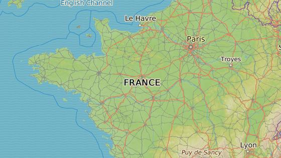 Červená značka představuje město Nantes, pod modrou značkou se nachází město Brest.