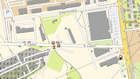 Stávající rozvodna PRE na obrázku vlevo dole. Ulice K Ládví by se měla napojit na ulici Dopraváků (v horní části obrázku).