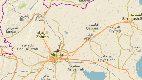 al-Báb se nachází severovýchodně od Aleppa asi 30 kilometrů od hranic s Tureckem