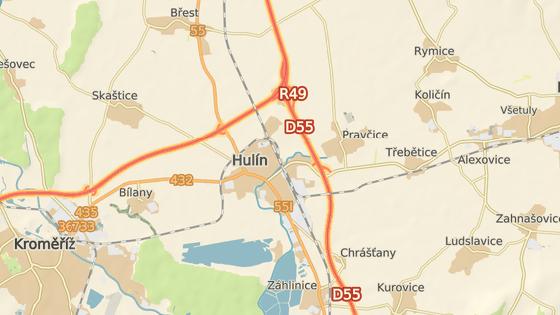 Místo nehody na D1 u Hulína.