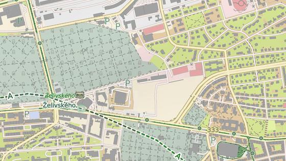 Objízdná adresa vedená přes  Izraelská (modře), Na Palouku (červeně), Počernická (zeleně), Vinohradská.