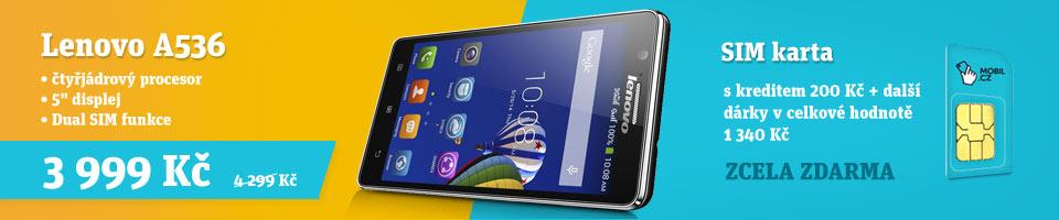 Lenovo A536 se SIM kartou MOBIL.CZ a d�rky za v�ce ne� 1000 K�
