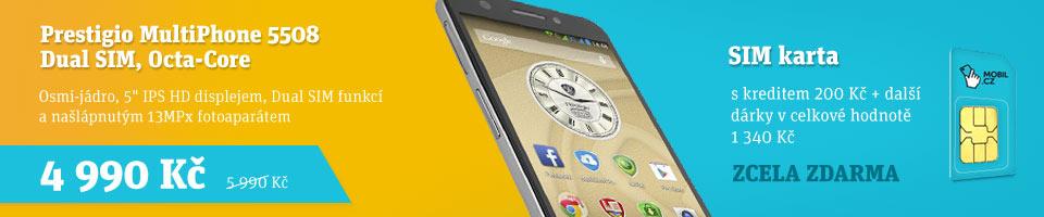 Prestigio MultiPhone 5508 se SIM kartou MOBIL.CZ  a d�rky za v�ce ne� 1000 K�